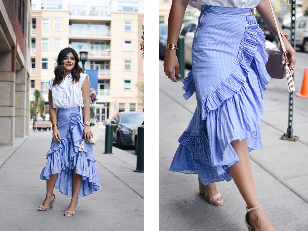 How to long wear striped maxi skirt forecast to wear in autumn in 2019